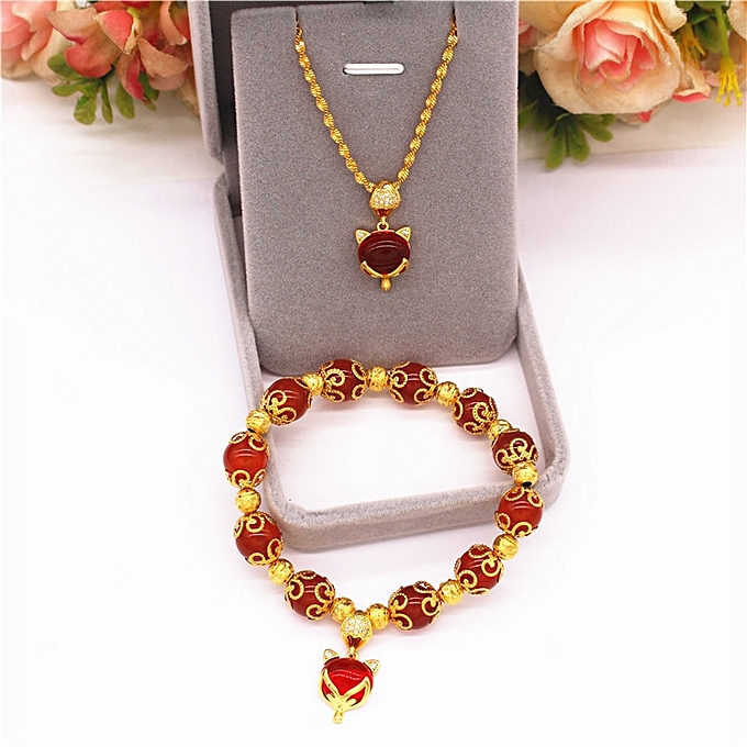 5cc2db03827f9 ... New style of Han Ban Tong plates a Vietnamese sand gold fox lock bone  necklace female ...