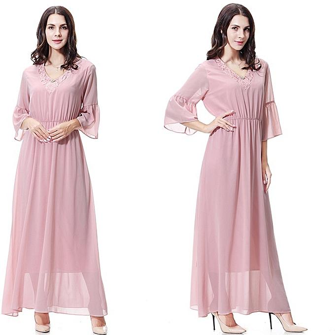 598ac3ba3e7c6 New Stylish Arab Islamic V Neck Dress Women Dubai Muslim Dress Abaya-Pink