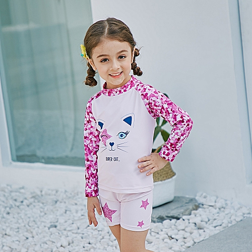af6a6b275e1 Generic Girl Two-Piece Long Sleeve Swimsuit + Cap Set UPF50+ Sun Protection  Quick-dry Rash Guards Swimwear Bathing suit For Kids Toddlery Perfect for K  Pink ...