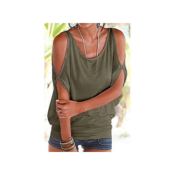 11b3ea28f2d5a YOINS Women New High Fashion Style Clothing Casual Scoop Neck Cold Shoulder  Cut Out Back Army