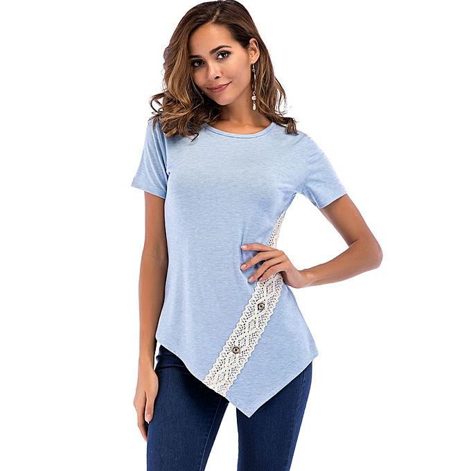 bbddead152599d Fashion birthpar store Women Summer Lace Button Top Short Sleeve Blouse  Casual Loose Tops T-Shirt-Blue