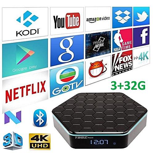 T95Z Plus Android TV Box - Plug & Play (Android 7 1 2, 3GB RAM, 32GB ROM,  Octa-Core 64-Bits CPU, Bluetooth, Dual Band WiFi) (Black) YCMI-A