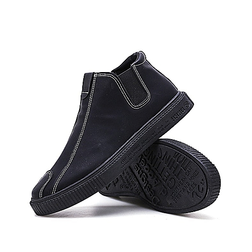 8672cb4e Generic Chao Brand Men's Shoes under Hua Lufei's Banner,Black High-Uppers  in Autumn and Winter,Men's Leather Surface Warming Cover