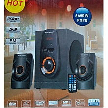 SUB WOOFER 2.1 CH HOME THEATER SYSTEM FM,USB/SD,REMOTE,6600 WATTS P.M.P.O