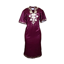 African print dress-Maroon and gold prints