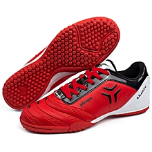Zhenzu Outdoor Sporting Professional Training PU Football Shoes, EU Size: 34(Red)