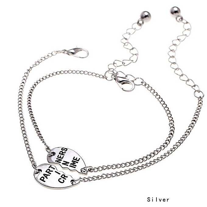 2pcs Set Partners In Crime Letter Broken Love Heart Charm Bracelet Best Friend