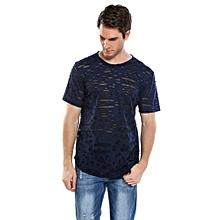 Men's Fashion O-Neck Short Sleeve Hip Hop Ripped Casual T-Shirt ( Navy Blue )