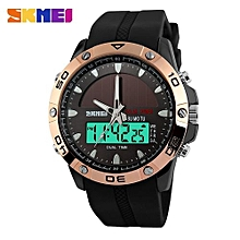Suitable Brand Solar Energy Men's Quartz Watch Men Sports Watches Relogio Masculino Digital Multifunctional Outdoor Wristwatches SKMEI-rose Gold