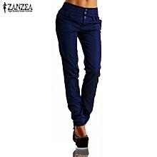 ZANZEA New Arrival Buttons Zipper Solid Long Trousers Women Pants Autumn High Waist Casual Slim Pants Capris Plus Size Blue