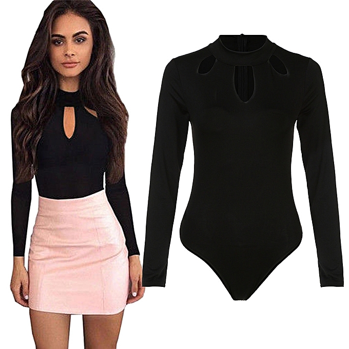 f48d02d196c Xiuxingzi Sexy Womens O Neck Long Sleeve Bodysuit Hollow Out Clubwear  Playsuit Jumpsuit