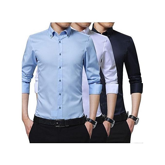 44d5bfb9f093 Shirts for Men - 3 pack Black White Blue - Slim Fit Formal Dress Shirt Long