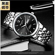 Refined Small fresh casual luminous waterproof men's watch-silver-black