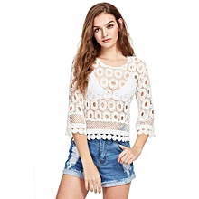 Women Gracful Hollow Lace Top - White