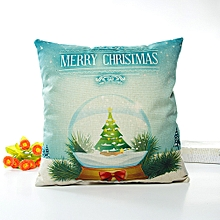 Merry Christmas Pillow Cases Linen Sofa Cushion Cover Home Decor Pillow Core D