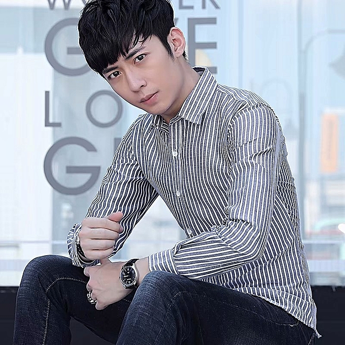 fb7da455bbed Men's long sleeves 2018 summer new Korean version, slim, handsome young casual  shirt men