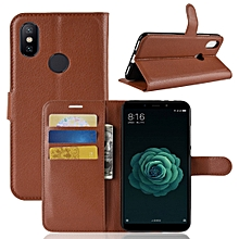 Litchi Texture Horizontal Flip Leather Case for Xiaomi Mi 6X / A2 , with Wallet & Holder & Card Slots(Brown)