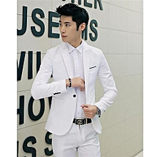 White Korean Style Men Suit Coat Slim Suit Men's Jacket Solid Color Casual Men's Clothing Work And Office Jacket Coat (China Size)