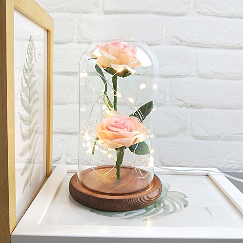 Romantic Immortal Flower Micro Landscape Rose Simulation Glass Shade Led Llight Decoration Ornaments Home Decorative Artificial & Dried Flowers