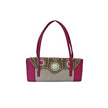 Elegant Handbag with Curvy Beaded Flap - Pink