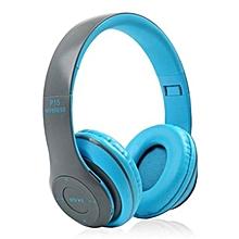 3edc426d155 P15 Bluetooth 5.0 Headphone Wireless Earphone Hands Free Music Headset-Blue