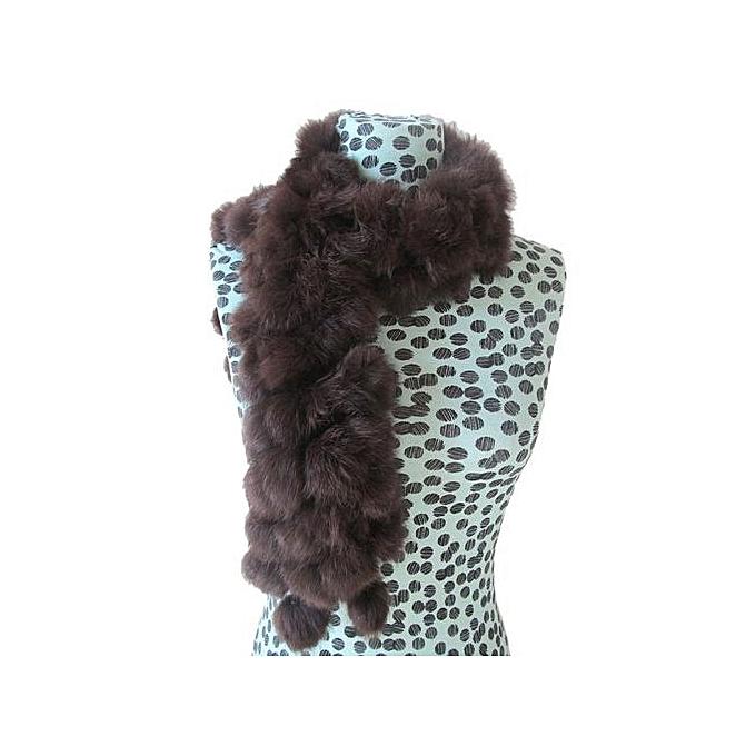1440426f9bf Hiaojbk Store Women Winter Rabbit Fur Scarf Lady Casual Fur Scarves Fur  Ball Velvet Scarf- Coffee