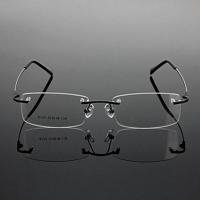 281a0419844 Rimless Glasses Lightest Rx Optical Eyeglasses Memory Titanium Spectacles  Frame Black