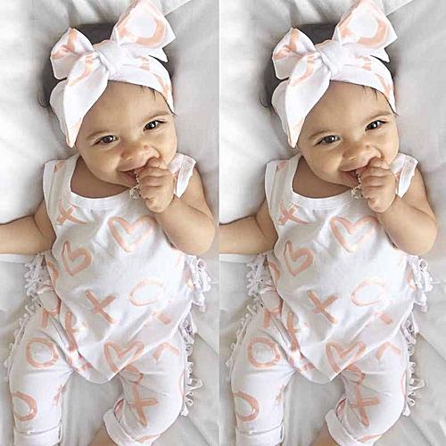 41b79a2d53e1 Generic Newborn Kids Baby Girl Bodysuit+Headband Cotton Jumpsuit Romper  Outfits Clothes