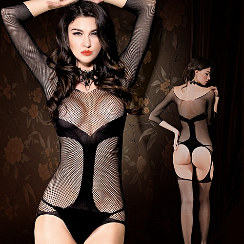 a96a29b07 Generic Sexy Women Lingerie Body Stocking Fishnet Open Crotch Sheer Mesh  Erotic Bodysuit Sleepwear Nightwear Black