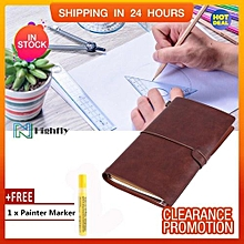 【Free Gift】Classic PU Leather Travel Notebook Personalized Journal Diary Refillable Notepad (Dark
