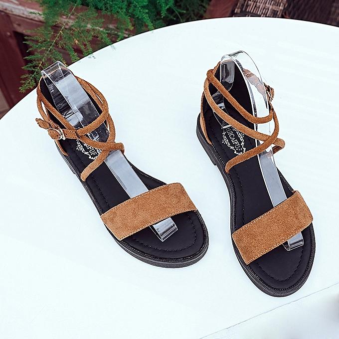 d4d5bec4c88c85 Xiuxingzi Women Flat Sandals Cross Straps Open Toe Buckle Low Heel Sandals  Wedge Summer