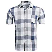 Men Short Sleeve Plaid Casual Shirts ( Dark Blue )