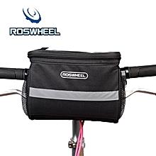 Portable Bicycle Cycling Outdoor Front Basket Pannier Frame Tube H+lebar Bag - Black