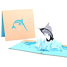 3D Pop up Sailfish Greeting Cards Envelope Post Card Birthday Gold