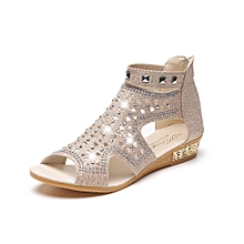Fohting Spring Summer Ladies Women Wedge Sandals Fashion Fish Mouth Hollow Roma Shoes -Beige