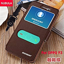 New Fashion 360 Degree For OPPO F3 / for Oppo A77 Flip Cover Clear View Windows Soft Leather Wallet Case Clamshell Standing Cover Case Full Protection Shockproof Drop Resistance Flip Case With Phone Rope 257045 (Black)