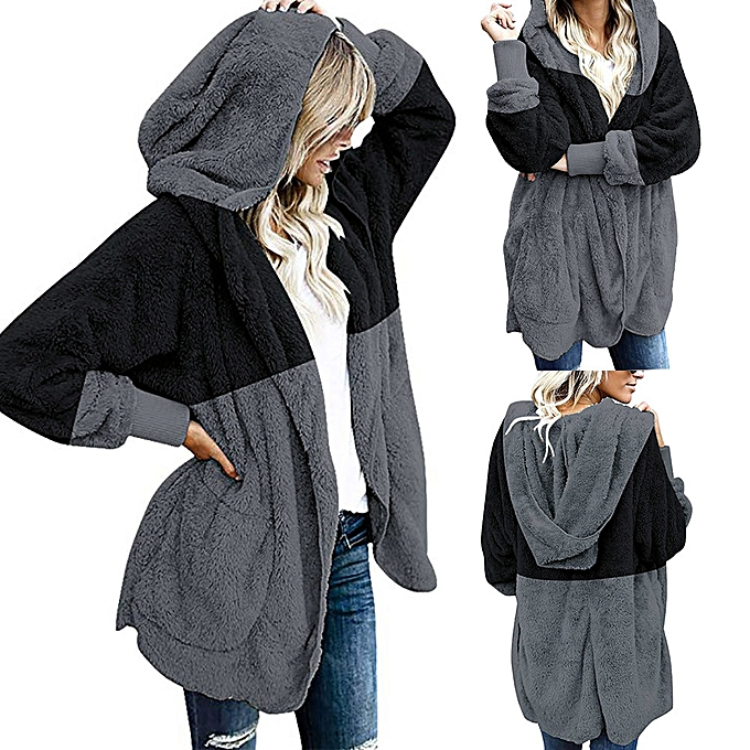efa63331b56d Xiuxingzi Women s Oversized Open Front Hooded Draped Pockets Cardigan Coat  ...