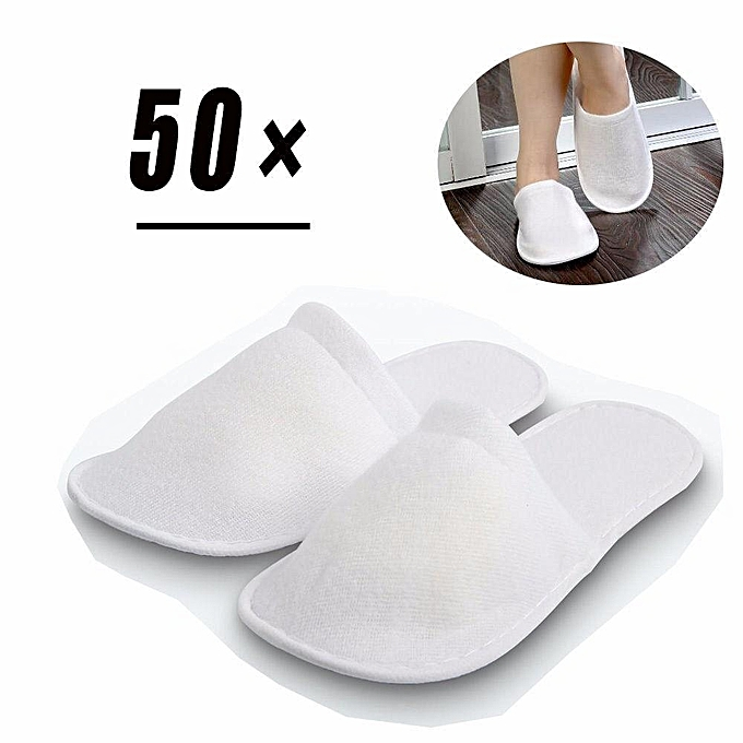 3bc60b179 50 pairs of White Disposable Slippers Towelling Hotel Slippers SPA Slippers Guest  Flip Flops Shoes