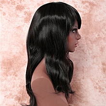 New European and American ladies form spongy oblique bangs-black