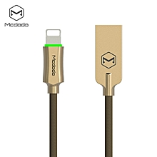 CA - 390 Knight Series 8 Pin 2.4A quick charg Auto Disconnection Data Sync Cable with Flashlight 1.8M for iPhone XS / XR / XS MAX - GOLDEN