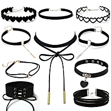 10Pieces Choker Necklace Set Stretch Velvet Classic Gothic Tattoo Lace Choker - Multi - One size