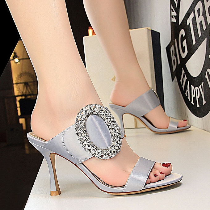 ed8731bd5cd4ac Fashion Women Fashion Sexy Banquet High Heel Metal Rhinestone Buckle Satin  Word With Sandals And Slippers
