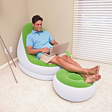 Inflatable Café Chaise Chair [w] Foot Rest - Green/Light grey
