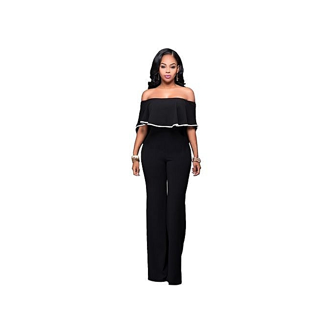 2f601d023dfb ... Women Casual Sexy Off Shoulder High Waist Long Pant Wide Leg Ruffle  Party Jumpsuits Rompers- ...