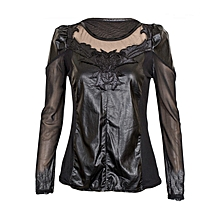 dae610692b3 Black Long Sleeved Top With Sheer And Faux Leather Detail