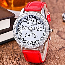 Lady  Leather Wrist Watch Zhoulianfa Women Cats Printing Analog Quartz Watch Leather Band Rhinestone Wrist Watch RD-Red