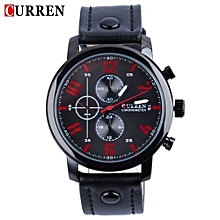 Men Quartz Watch Leather Strap Water Resistance Analog Wristwatch-BLACK