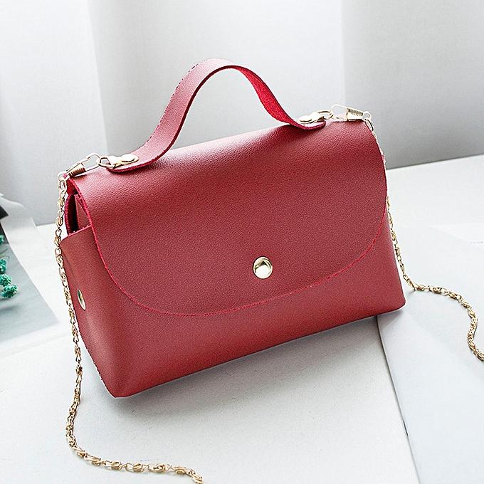 bcd4f1afdd4a huskspo Women Fashion Pure Color Hasp Leather Messenger Shoulder Bag Chest  Bag