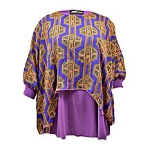 Purple 3/4 Sleeve Printed Double Lay Top