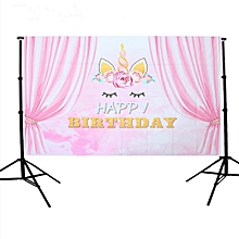 Pink Curtain Unicorn Birthday Backgrounds Party Events Photography Backdrop 3x5ft